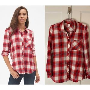 GAP Red & White Lightweight Flannel Top Sz XS